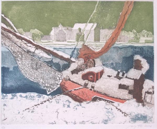 Am winterlichen Fluß, 2006, Farbaquatinta, 30x39 cm