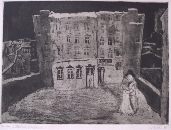 """Clärchens Ballhaus (aus der Folge """"Berlin Alexanderplatz"""" nach A. Döblin), 1978, Aquatinta"""