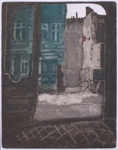 """Hof mit roter Fahne (aus der Folge zu """"Berlin Alexanderplatz"""" von A. Döblin), 1978, Farbaquatinta"""