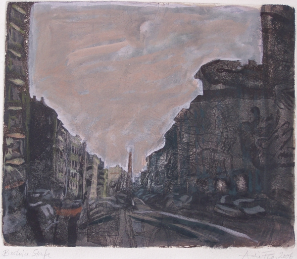 Berliner Straße, 2006, Aquatinta, übermalt, 24,8x29,5 cm