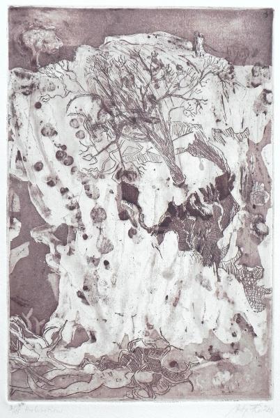 Steilküste I, Herbststürme, 2011, Aquatinta