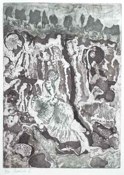 Steilküste III, Spaziergänger, 2011, Farbaquatinta