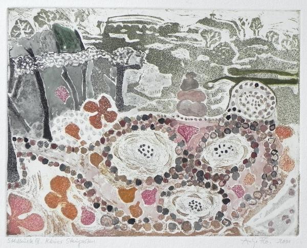 Steilküste IV, Kleiner Steingarten, 2011, Farbaquatinta