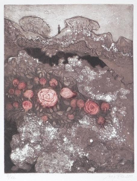 Steilküste V, Der Sturz der wilden Rosen, 2011, Farbaquatinta