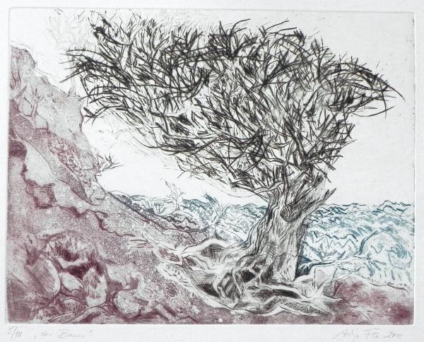 Steilküste VI, Der Baum, 2011, Kaltnadel und Farbaquatinta