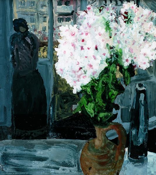 Phlox und Frau am Fenster, 1978, Hinterglasmalerei, 51x45,5 cm