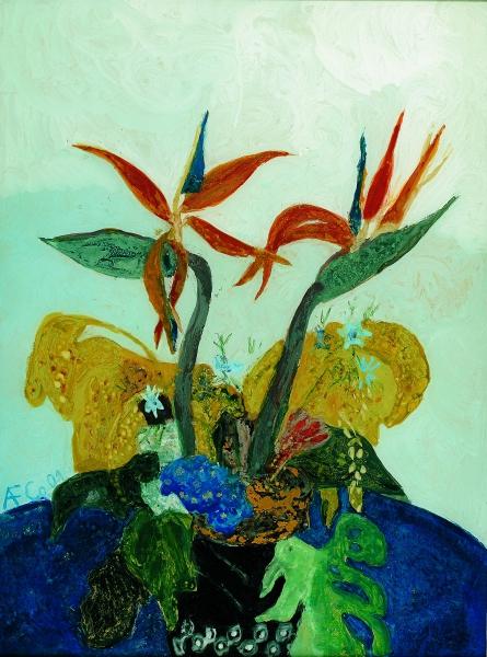Paradiesvögel, 2001, Hinterglasmalerei, 82,5x61,5 cm