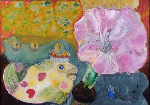 Der Butt, die Ilsebill, die Amaryllis und der kleine arme Fischer, 2010, Hinterglasmalerei, radiert und collagiert, 50x70 cm