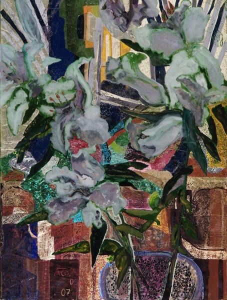 Lilien, 2007, Hinterglasmalerei, radiert und collagiert, 64x48 cm