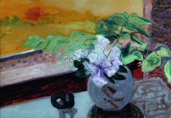 Salomonsiegel und Hühnergott, 2005, Hinterglasmalerei, 42x60 cm