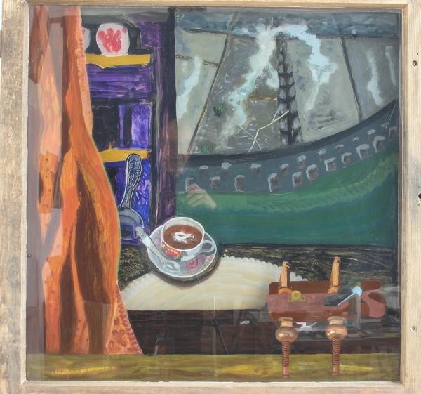 Teepause des Schreiners, 2004, Hinterglasmalerei auf zwei Scheiben (aufschraubbares Fenster), 106x106 cm