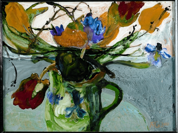 Tulpen in grünem Krug, 2000, Hinterglasmalerei, 28,5 x 38 cm
