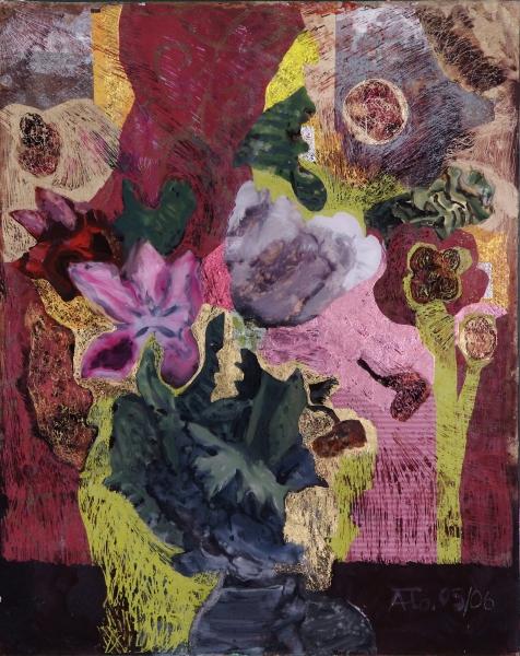 Verwandlung II, 2006, Hinterglasmalerei, radiert und collagiert, 50x40 cm