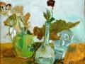 Stillleben mit Plastik, 1977, Hinterglasmalerei, 43x51 cm