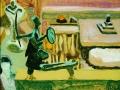 Im Bildhaueratelier, 2003, Hinterglasmalerei, 25,5x29 cm