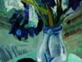 Afrikanisches Gefäß und Schwertlilien, 2009, Hinterglasmalerei, 70x50 cm