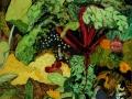 Bauerngarten mit Mangold, 2003, Hinterglasmalerei, 82x61 cm