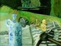 """Stillleben mit Ölflasche und """"Hausboot"""", 2003, Hinterglasmalerei. Für Jo. 40x50 cm"""