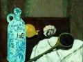 Stillleben mit Ölflasche, Zwiebel und Knoblauch, 2002, Hinterglasmalerei, radiert und collagiert, 40x50 cm
