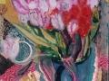 Frühling beginnt, 2008, Hinterglasmalerei, radiert und collagiert, 40x30 cm