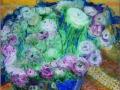 Ranunkeln in großer Schale, 2009, Hinterglasmalerei, radiert und collagiert, 70x50 cm