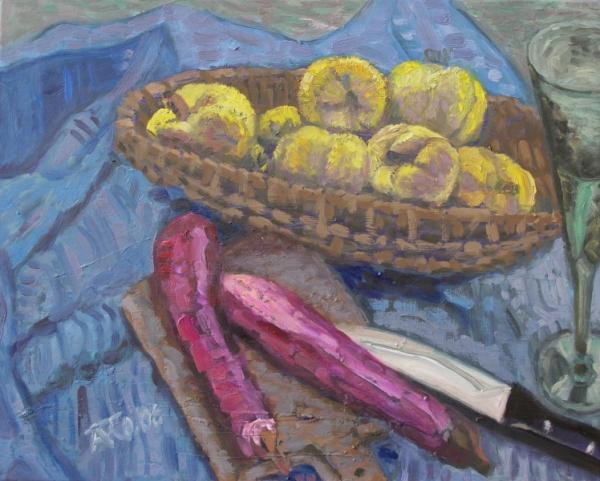 Asiatische Auberginen, 2007, Öl, Leinwand, 40x50 cm