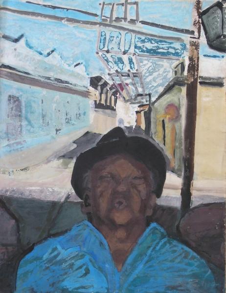 Cuba - Alter Trofasänger in Santiago, 1987, Gouache, 62x48 cm