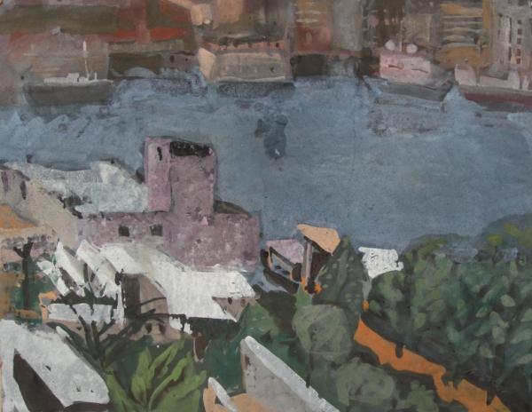 Cuba - Casa Blanca am Hafen von Havanna I, 1987, Gouache 48x67 cm