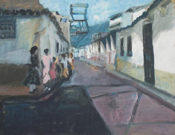 Cuba - Im Schatten der Häuser, 1987, Gouache, 48x67 cm