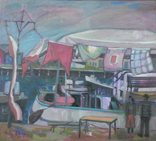 Flaggen an Land, 2000, Öl, Leinwand, 70x80 cm