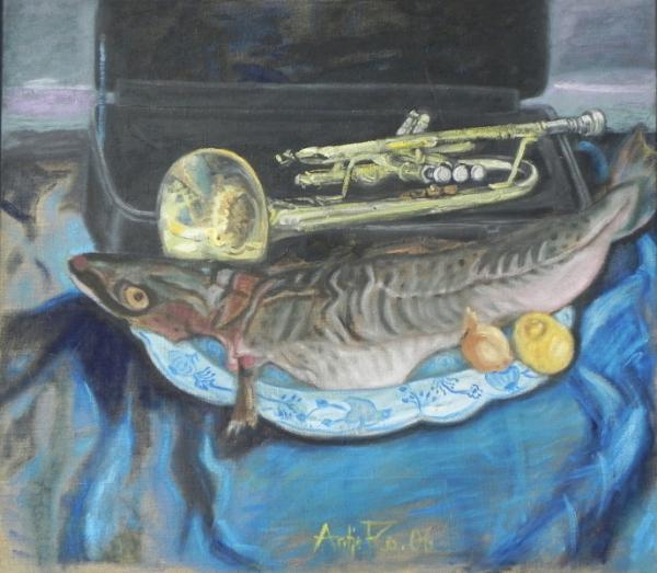 Jazzfest - Fisch auf dem Teller, 2006, Öl, Leinwand, 70x80 cm