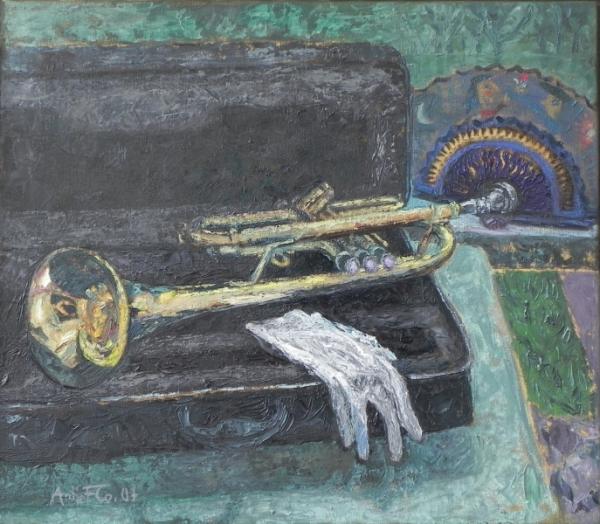 Jazzfest - Trompete mit Nurias Fächer, 2007, Öl, Leinwand, 70x80 cm