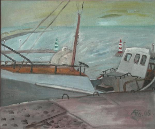 Kutter im Hafen von Nida II, 2005, Öl, Leinwand, 50x60cm