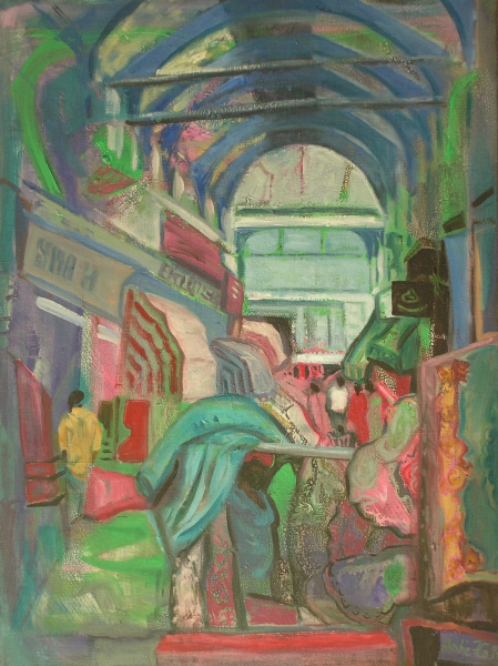 London - Grosse Markthalle in Brixton, 1994, Öl, Leinwand, 70x60cm
