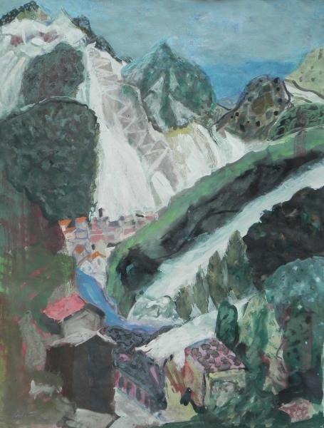 Stiller Ort in den Marmorbergen, 1995, Gouache, 67x48cm