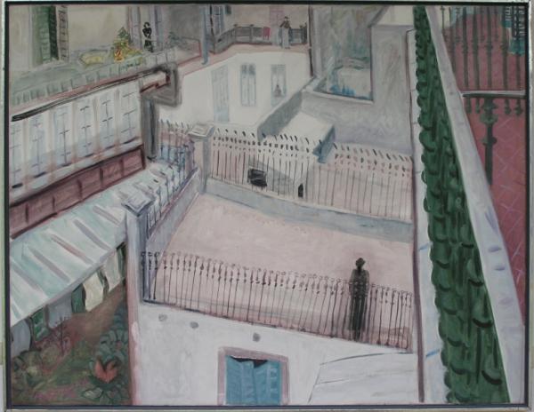 Stimmen im Hof (Barcelona), 1991, Öl, Leinwand, 140x180 cm