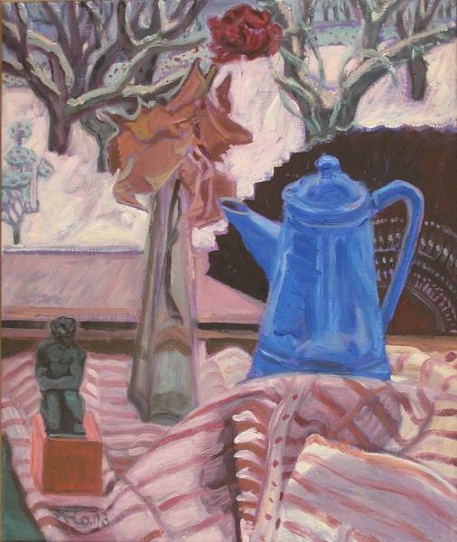 Winterliches Stillleben mit blauer Kanne, 2003, Öl, Leinwand, 50x40 cm