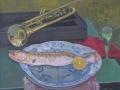 Jazzfest - Trompetenfisch, 2007, Öl, Leinwand, 70x80 cm