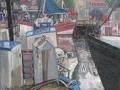 Kutter am Strom, 2001, Öl, Leinwand, 80x100 cm