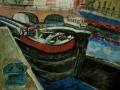 Lastkahn an der Fischerinsel, 1997, Gouache 40x45cm