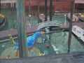 Speicherstadt mit blauem Vogel, 2004, Öl, Leinwand, 80x100 cm